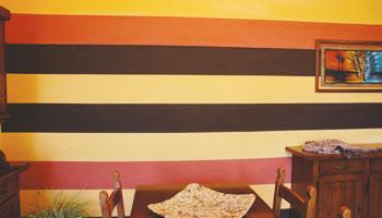 Il colore nel salotto a righe arketipo for Pareti colorate salotto