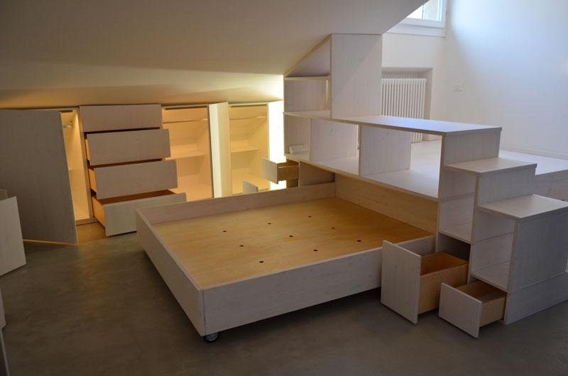 Appartamento sottotetto in 24 mq michele gambato arketipo - Bagno sottotetto ...