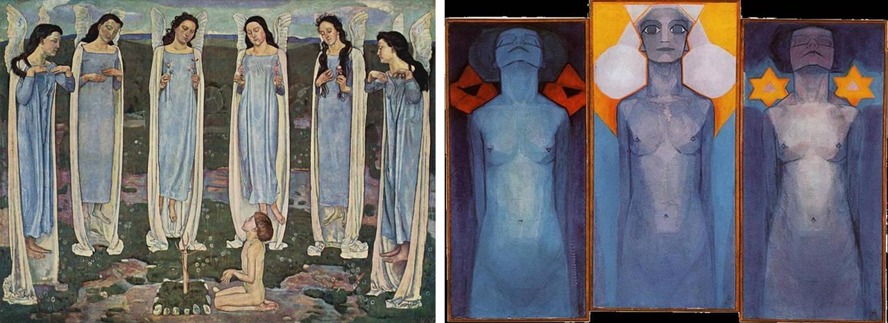 """""""L'eletto"""" di Ferdinand Hodler  -  """"Evoluzione"""" di Piet Mondrian"""