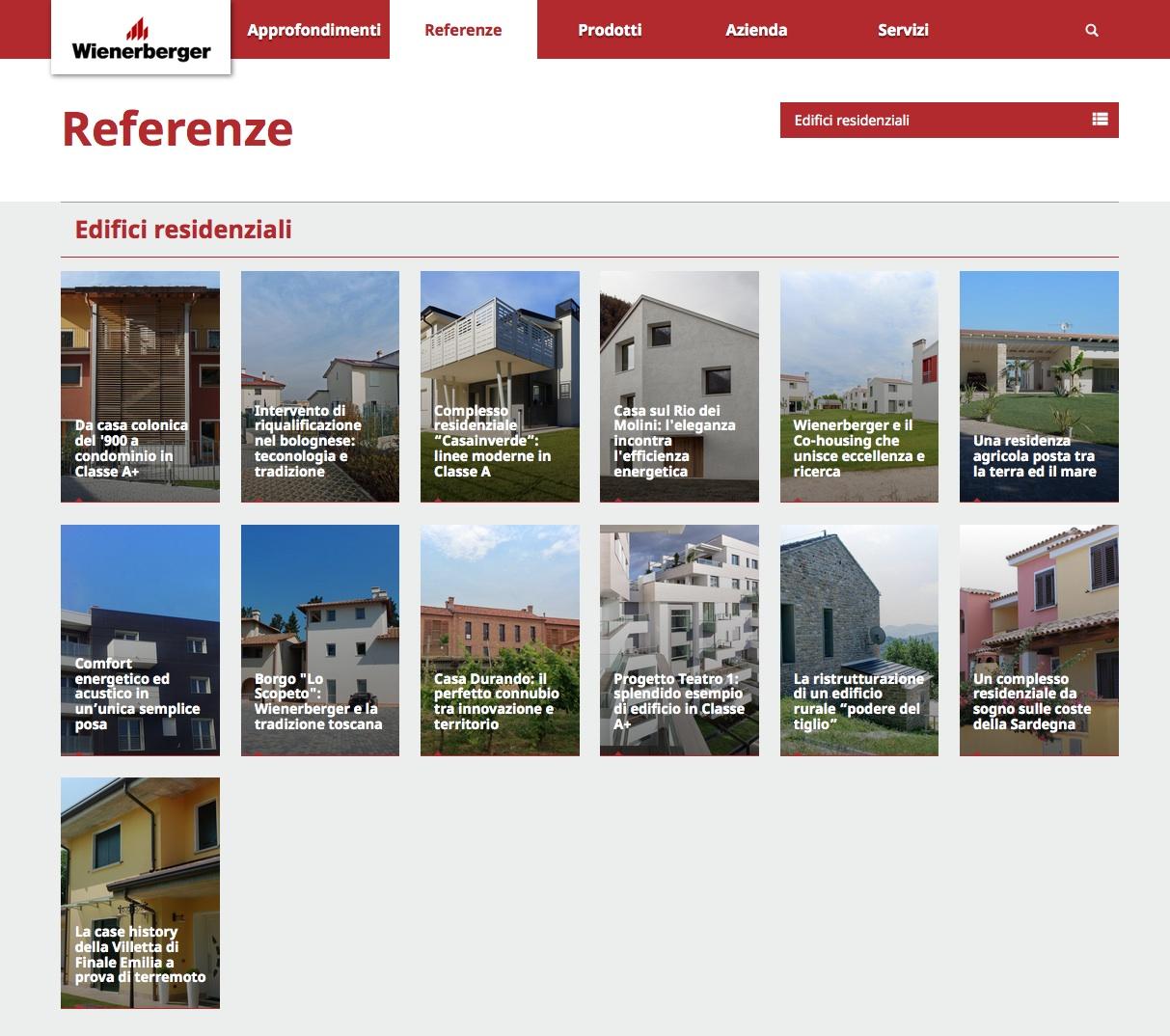Sezione Referenze del nuovo sito di Wienerberger Italia
