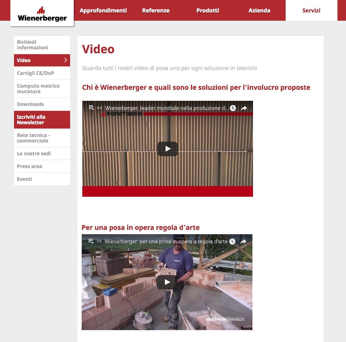 Sezione Video del nuovo sito di Wienerberger Italia