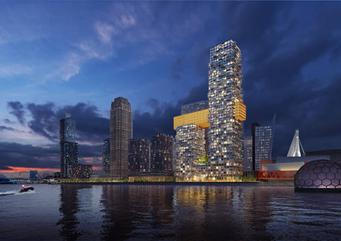 The building with its two interconnected towers, will rise between the New Luxor Theater and the Boston & Seattle residential towers