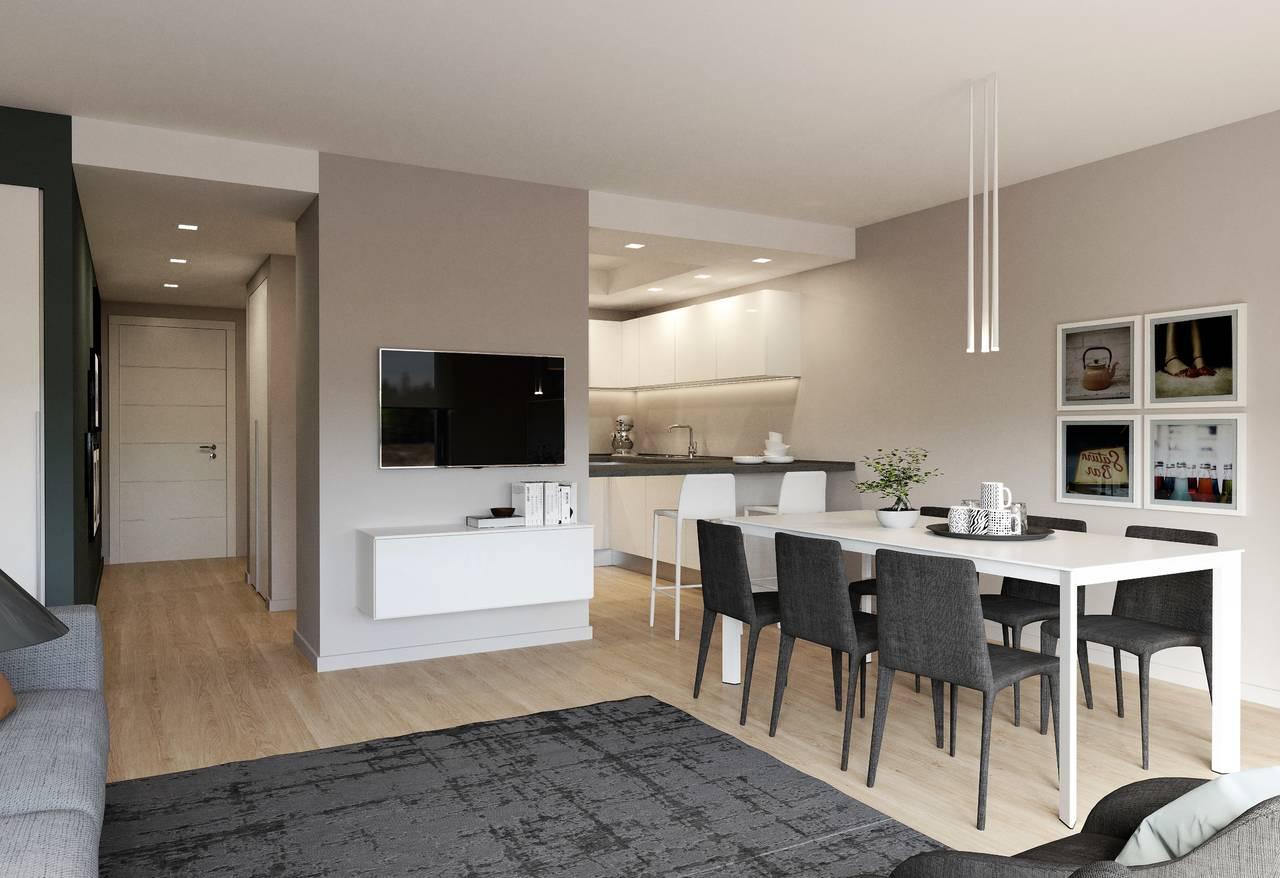 Zona giorno open space di un appartamento tipo