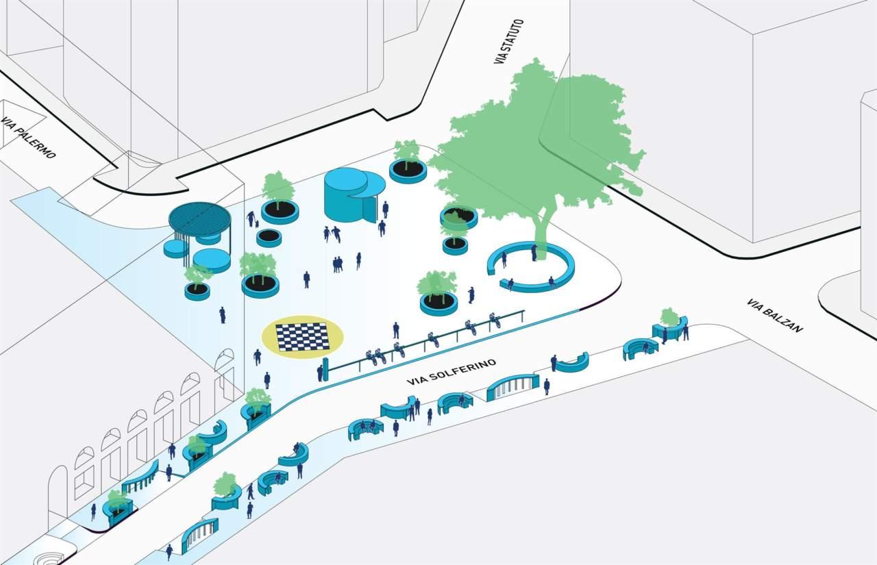Largo Treves e via Solferino: progetto per un nuovo luogo urbano