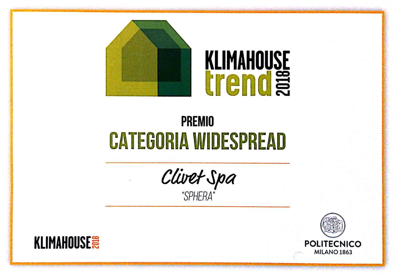 Klimahouse Trend premia Sphera di Clivet come miglior prodotto nella categoria Widespread